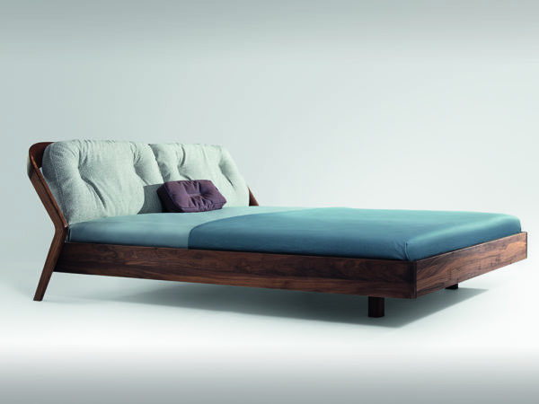 bed in walnut with upholstered backrest