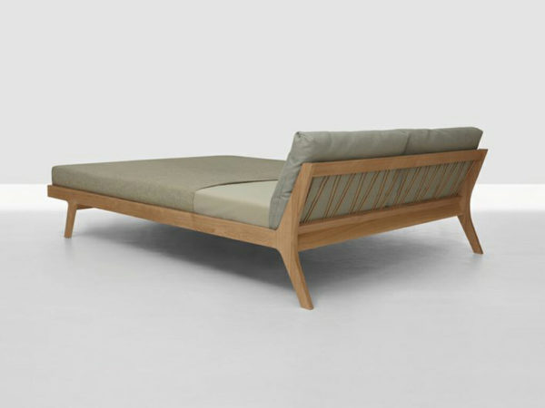 Noble solid wood bed with back cushions