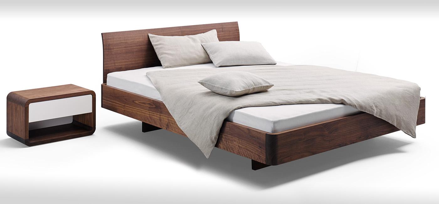 Bett mit gerundeten Kanten