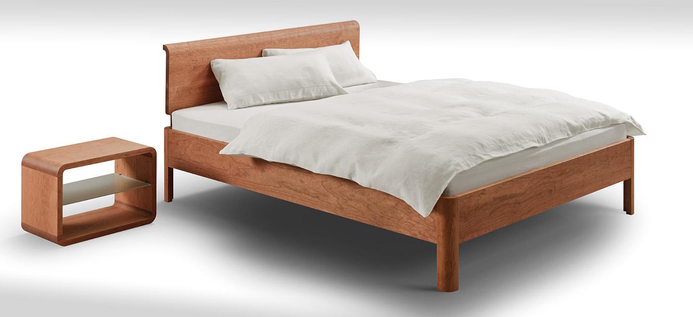 Bett mit weichen Formen