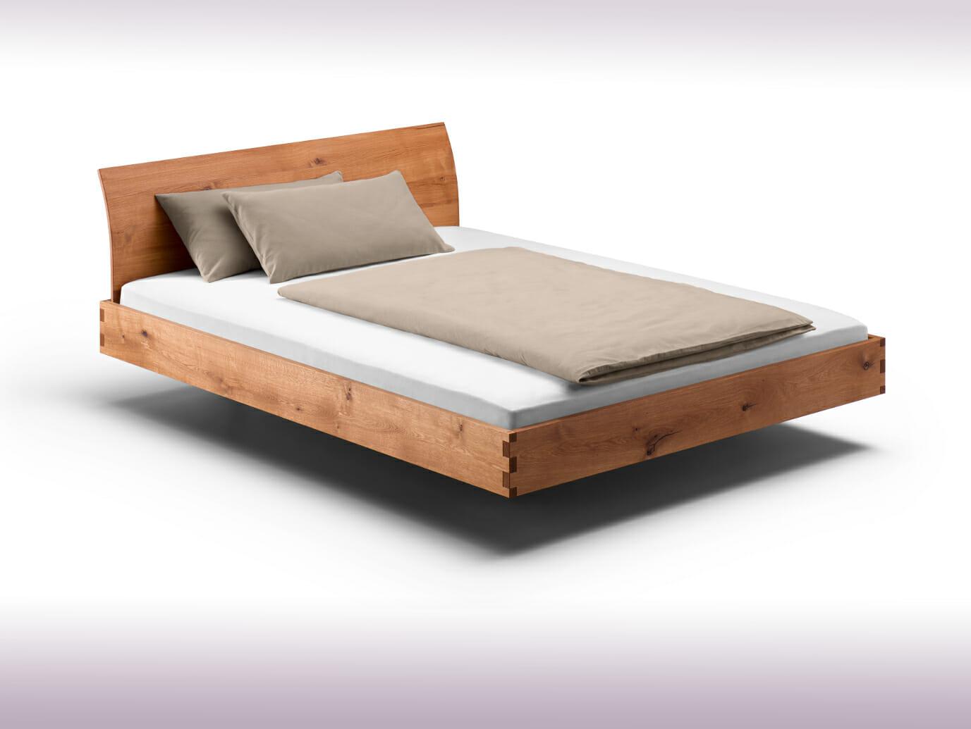 Bett mit gebogener Lehne, metallfrei