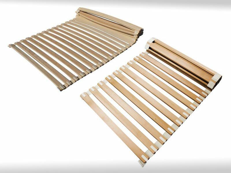 Rollroste mit festen Latten und mit gebogenen Formholzlatten