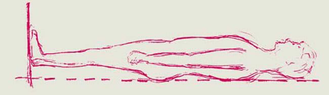 Die Ausrichtung des Körpers ändert sich im Liegen